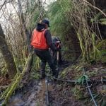 Surveying forestland and stream
